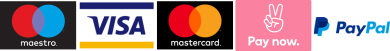Comfortably pay with Maestro, Master Card, Visa, Pay Now or PayPal